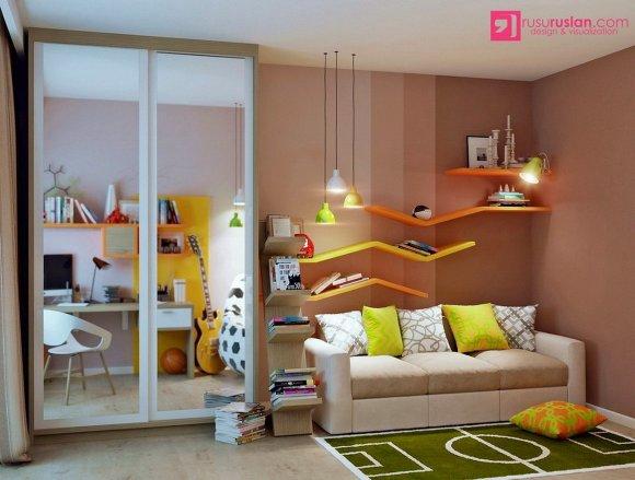 Зеркальный шкаф расширяет пространство в детской комнате.