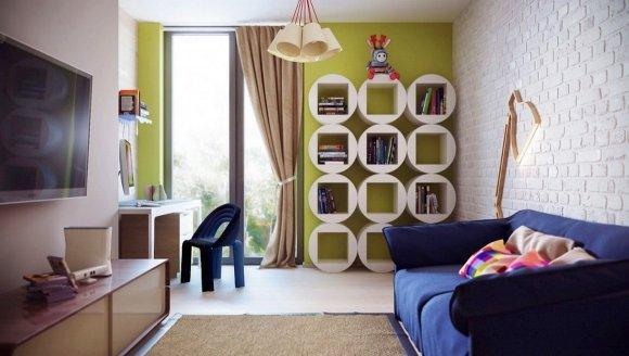 Полки белого цвета в дизайне детской комнаты.