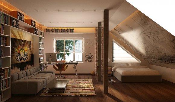 Комната-студия для подростка. Мансардный этаж дома.