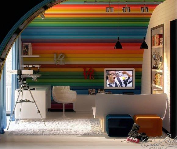 На фотографии вариант дизайна детской комнаты.