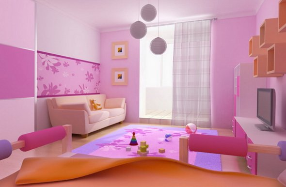 Розовый цвет для детской комнаты.