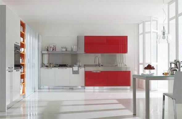 Красный цвет в дизайне кухни.