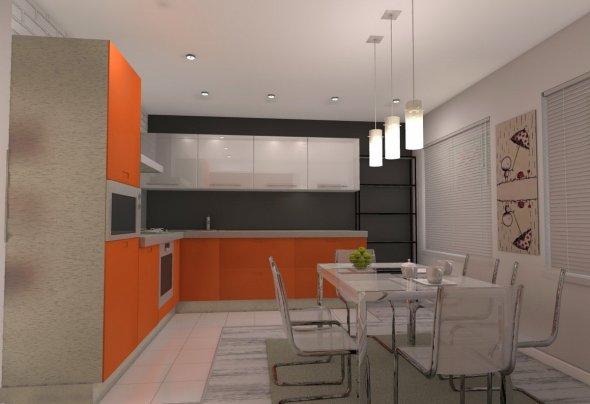 Островное расположение мебели помогает улучшить функциональность кухни.