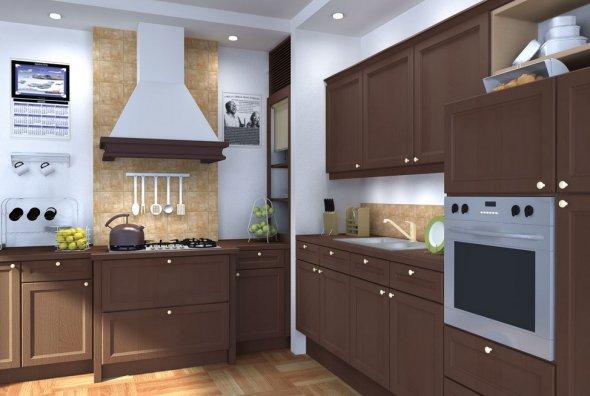 Компьютерное изображение интерьера кухни.