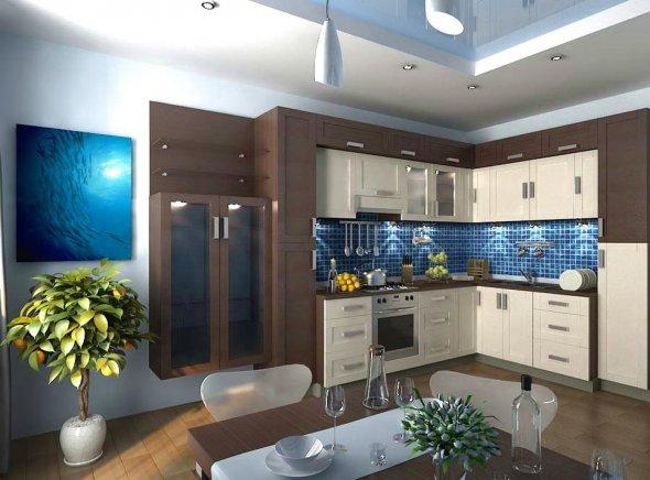 Компьютерный рисунок дизайна кухни.