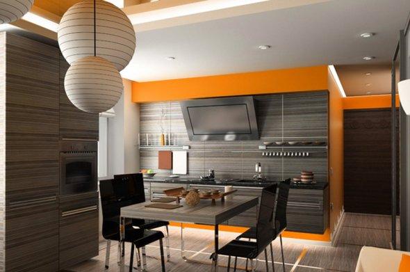 Необычные светильники в дизайне кухни.
