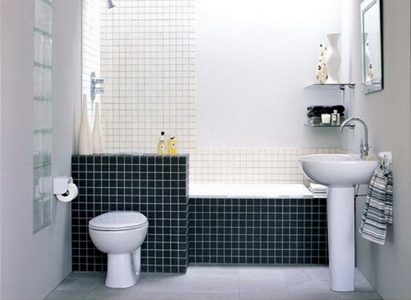 Оформление ванной комнаты однотонной мозаикой.