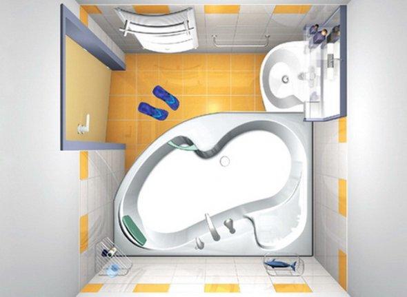 Маленькая комната с ванной неправильной формы.