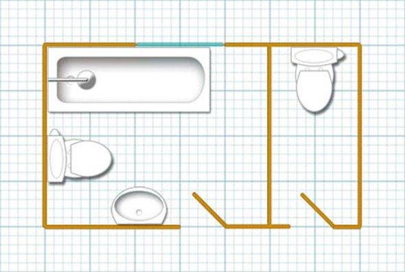 Размещение оборудования в малогабаритном санузле. План.