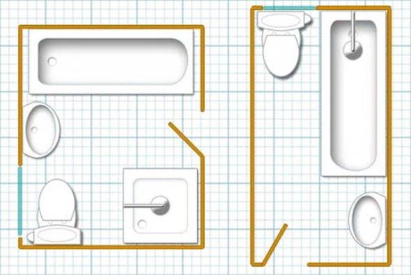 План расстановки оборудования в небольших ванных комнатах.
