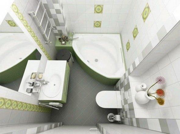 Классический  дизайн для небольшого помещения. На фото вид сверху.