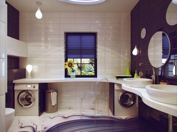 Эксперименты с дизайном интерьера ванной комнаты.