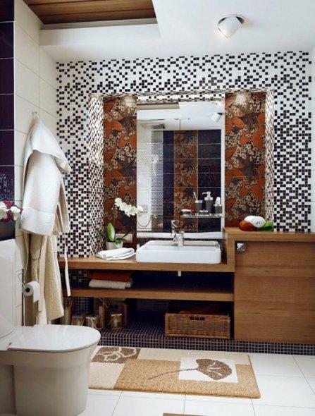 Еще вариант оформления ванной комнаты на фото.