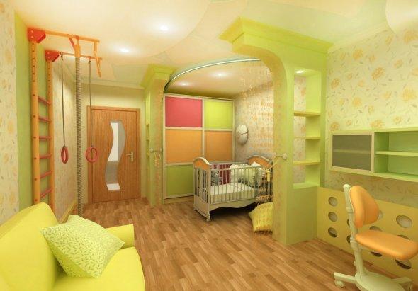Салатневый цвет в детской комнате