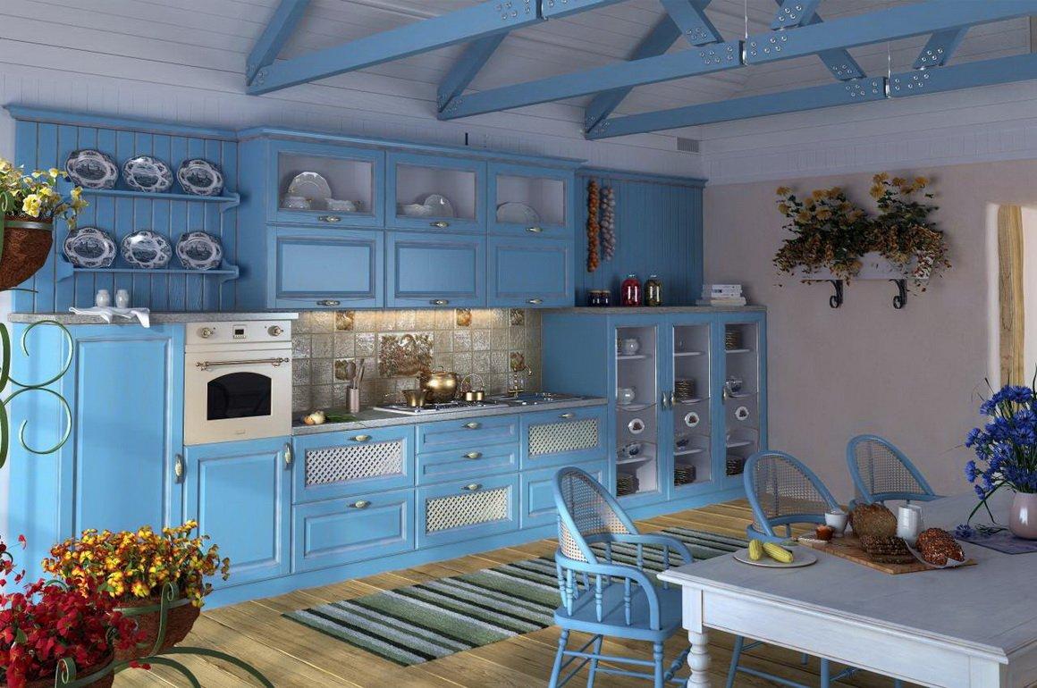 Дизайн голубой кухни фото