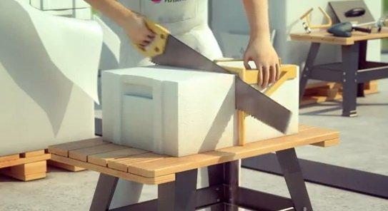 Резка блоков из газобетона