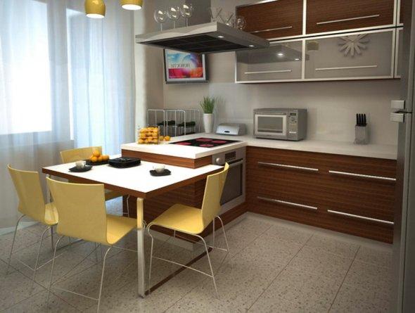 Интерьер кухни с обеденным столом