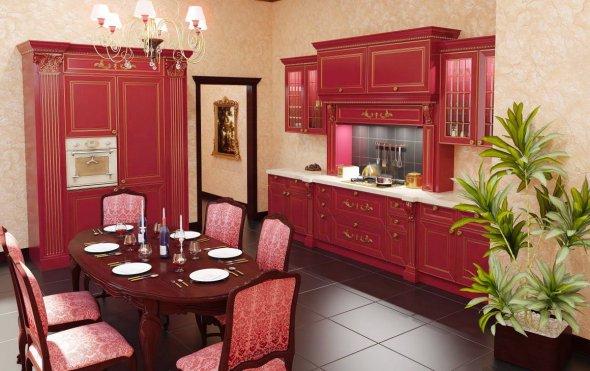 Красные тона в интерьере кухни