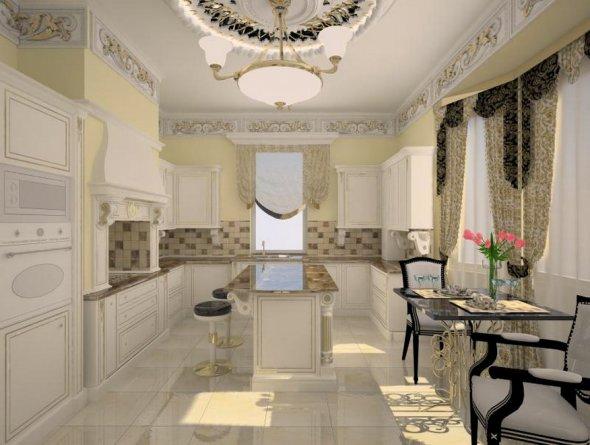 Обустройство кухни с высоким потолком