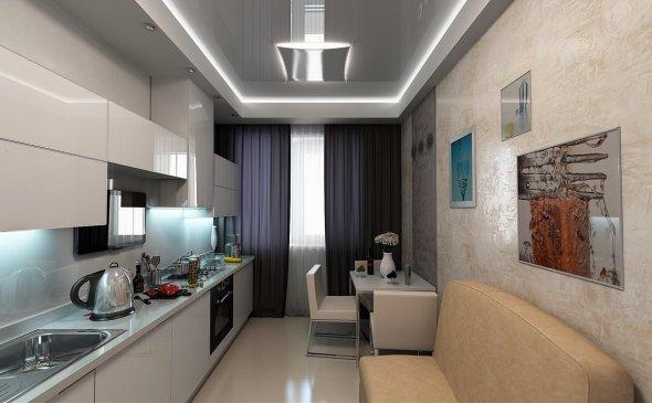 Рядное расположение кухонной мебели