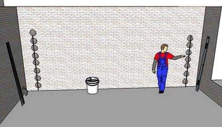 Маяки для штукатурки стены выставляются по уровню