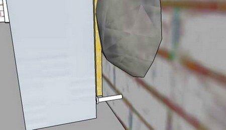 Маяки выставляются уровнем, который опирается на шуруп