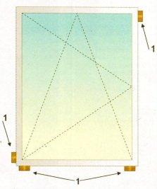 Расположение опорных и распорных колодок для одностворчатого окна