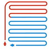 Схема укладки трубопровода теплого пола змейка