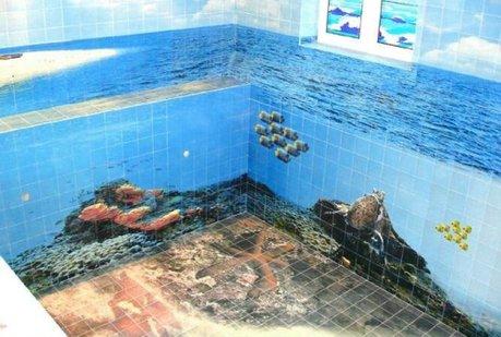 Фотоплитка в бассейне