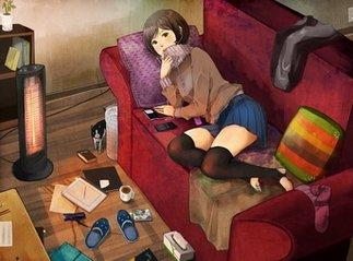 Обогревание девушки в комнате