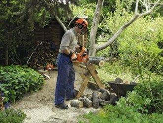 Распиловка дерева любительской бензопилой