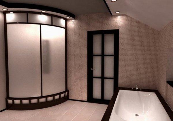 Душевая кабинка в ванной на фото