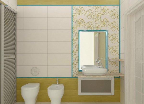 Салатниевые тона в ванной комнате