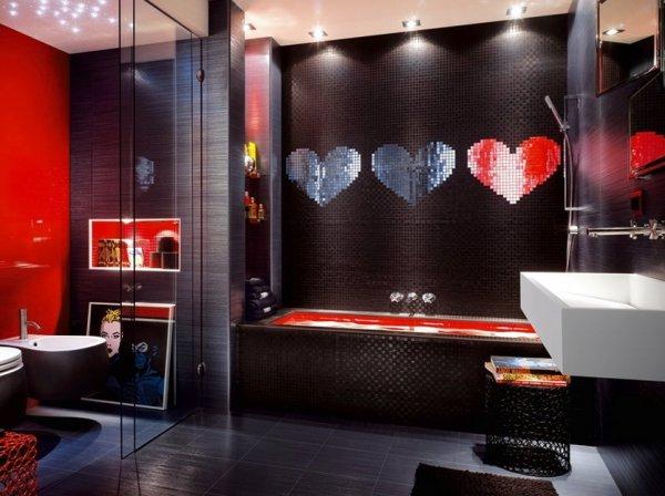 Темная расцветка ванной комнаты