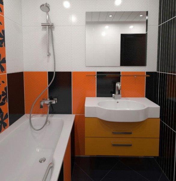 Яркие элементы в интерьере ванной
