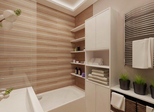 Мягкие тона для небольшой ванной комнаты