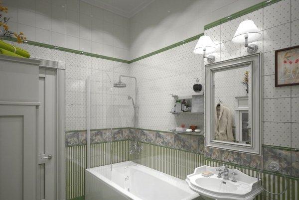 Спокойное оформление ванной комнаты