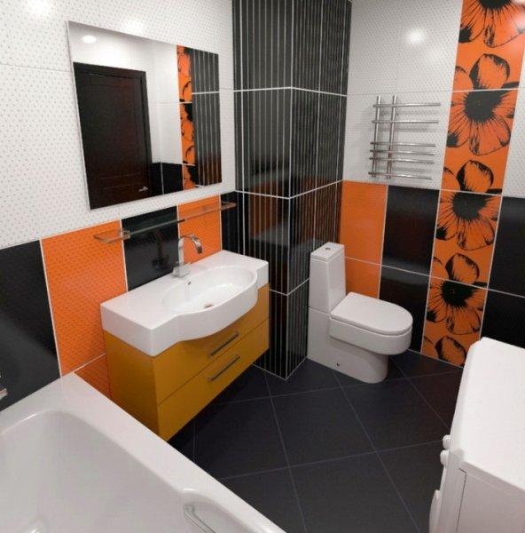 Акценты цветом в интерьере ванной