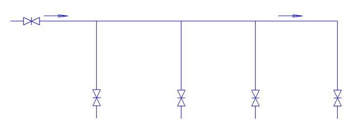 Последовательная схема подключения трубопроводов внутри дома