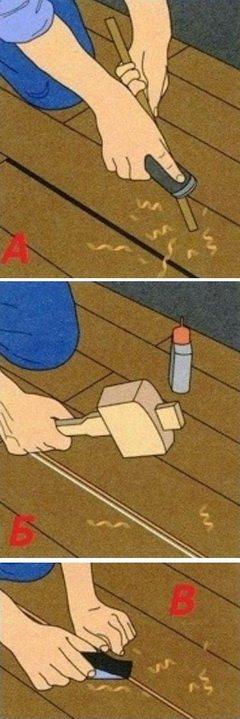 Как заделать щели в деревянном полу - схема
