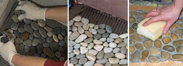 Плитка из камушек сделанная своими руками 73