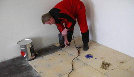 Монтаж ОСП на бетонное основание