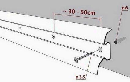 Плинтус можно закрепить с помощью шурупов