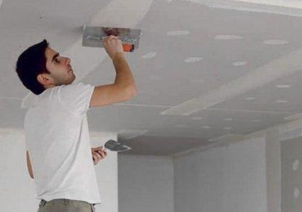 Шпаклевание потолка из гипсокартона, гипсовая шпаклевка