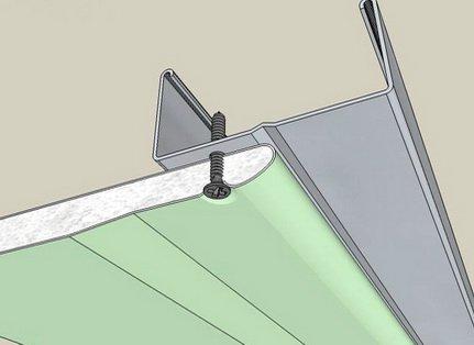 Закрепление гипсокартона на профилях с помощью шурупов