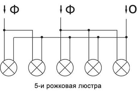 Принципиальная электрическая схема люстры на 5 светильников