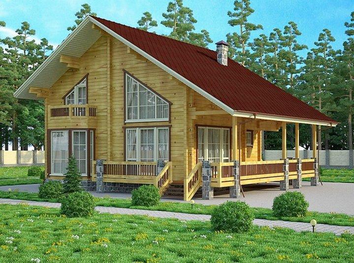 Большой дом из бруса на открытом участке