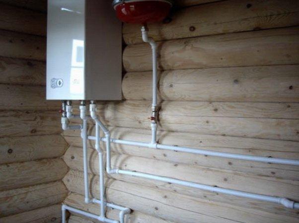 Монтаж простого котла на стене в доме