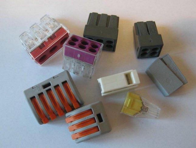 Различные зажимы для соединения проводников