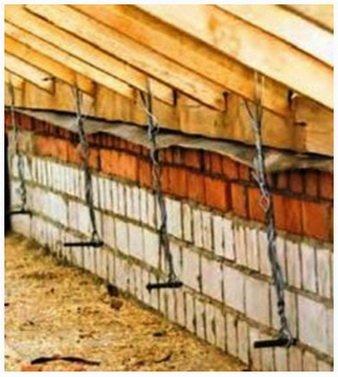 Страховочное крепление стропил к стене против ветра